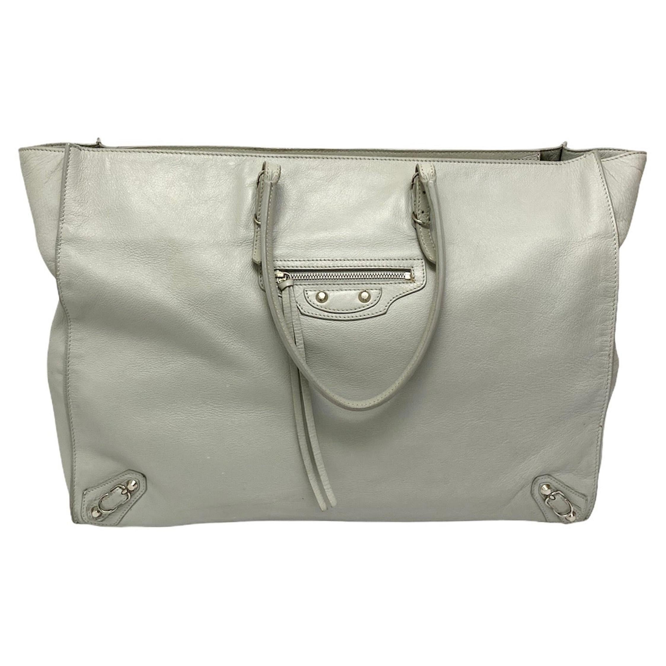 Balenciaga White Leather Papier Bag