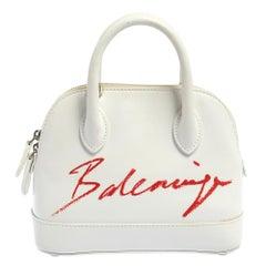 Balenciaga White Leather XXS Ville Logo Satchel
