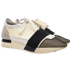 Balenciaga White Race Runner Elasticated Leather Sneakers SIZE 37