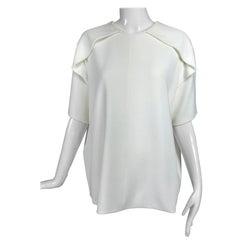 Balenciaga White Shoulder Detail Short Sleeve Top