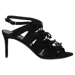 Balenciaga Woman Sandals Black Leather IT 38