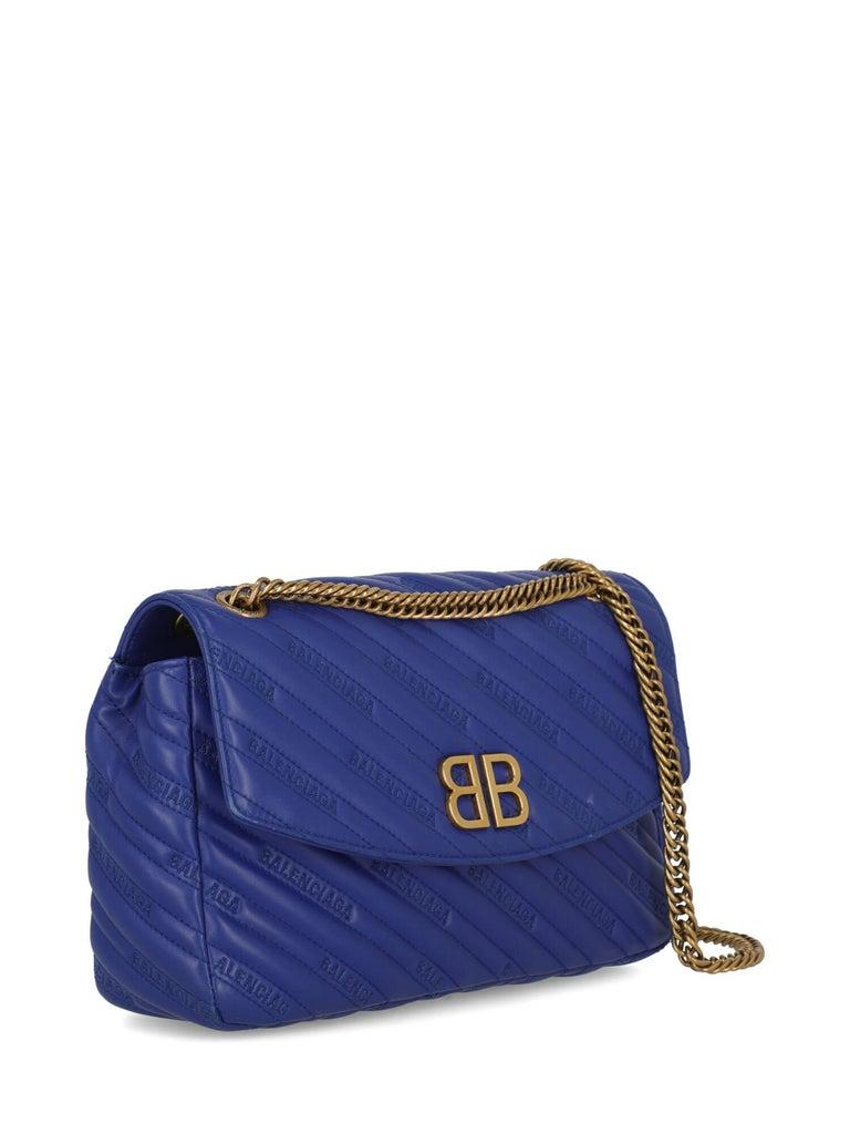 Purple Balenciaga Woman Shoulder bag  Navy Leather For Sale
