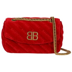 Balenciaga Women's Cross Body Bag Red Fabric