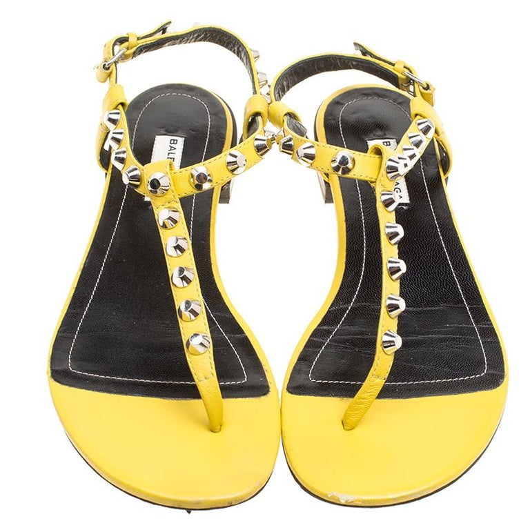6bcd989fd4d ... Leather Arena Studded Thong Sandals Size 38 For Sale. How vibrant and  lovely do these Arena sandals from Balenciaga look! These yellow sandals are