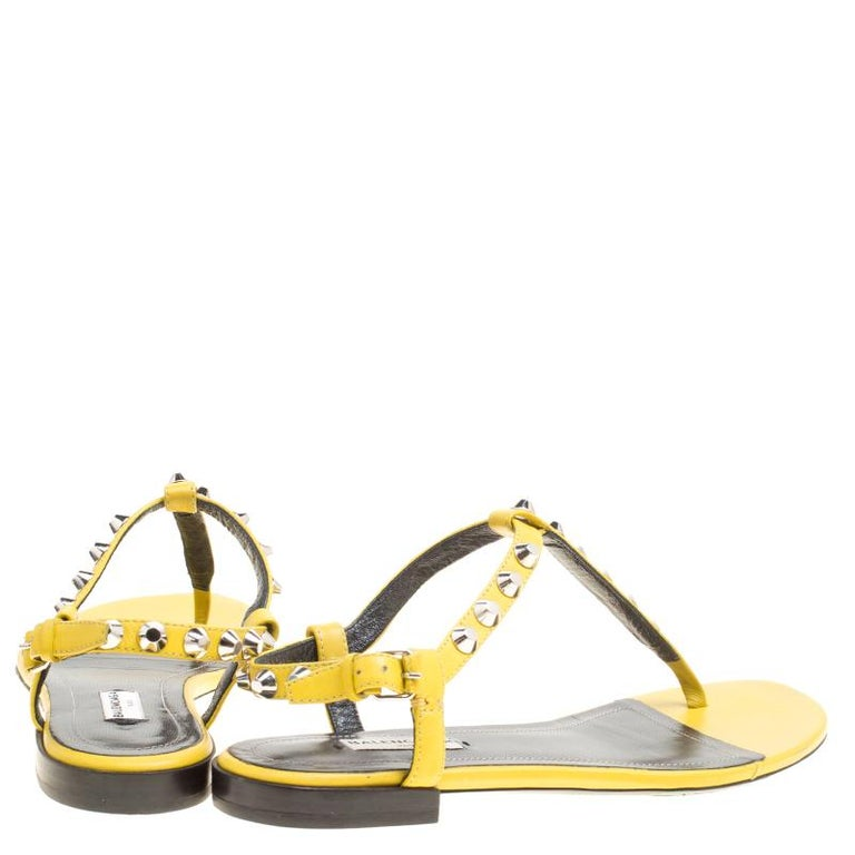 c0116d68eab Beige Balenciaga Yellow Leather Arena Studded Thong Sandals Size 38 For Sale