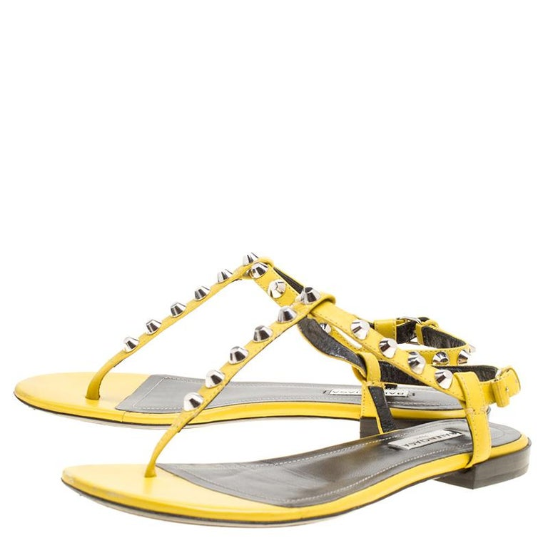 76530e08166 Women s Balenciaga Yellow Leather Arena Studded Thong Sandals Size 38 For  Sale