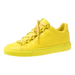 Balenciaga Yellow Neon Leather Arena Low Top Sneakers Size 40