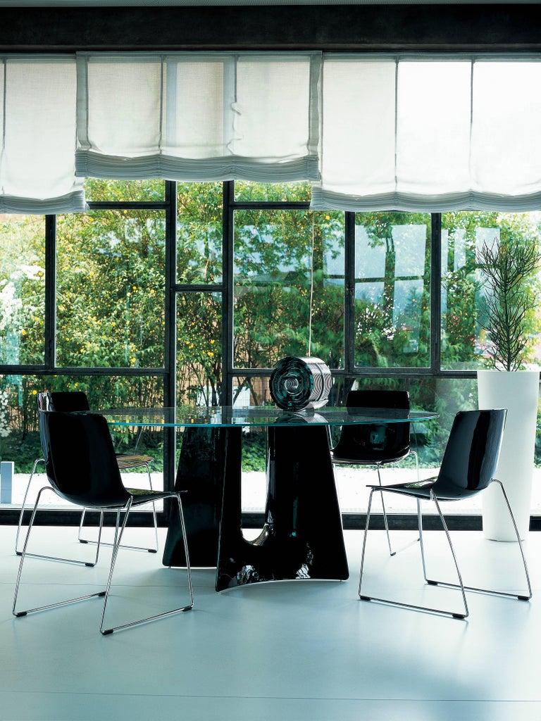 Modern Baleri Italia Bentz High Elliptical Aluminum Table with Glass Top by Jeff Miller For Sale