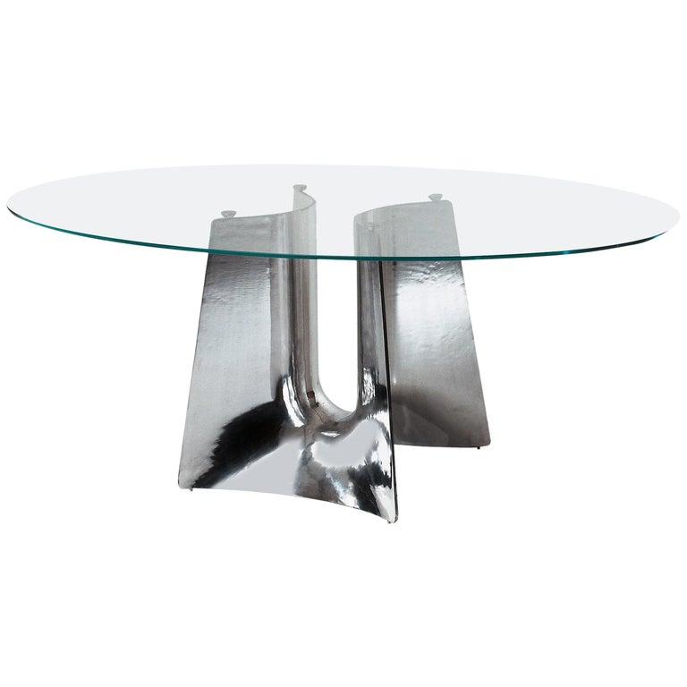 Baleri Italia Bentz High Elliptical Aluminum Table with Glass Top by Jeff Miller For Sale