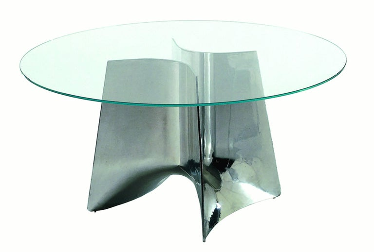 Modern Baleri Italia Bentz High Round White Table with Glass Top by Jeff Miller For Sale