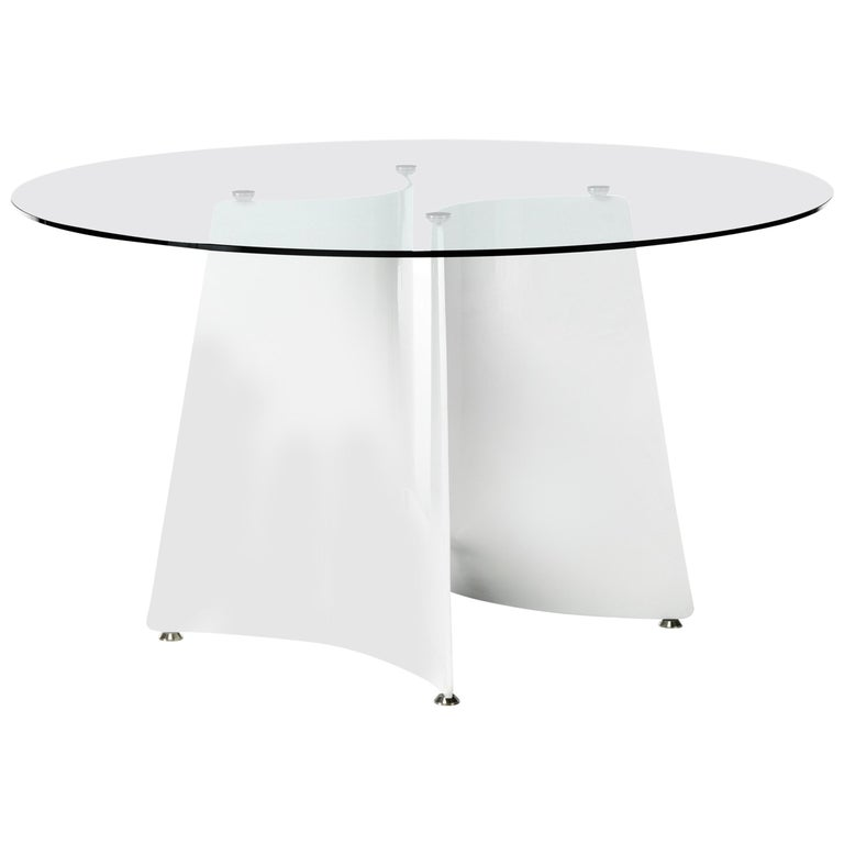 High Gloss White Coffee Table Round Angle Black Glass Top: Baleri Italia Bentz High Round White Table With Glass Top