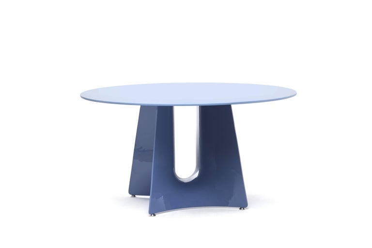 Italian Baleri Italia Bentz High Round White Table with Wood Top by Jeff Miller For Sale