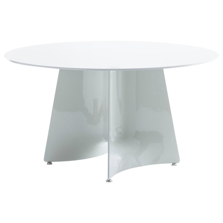Baleri Italia Bentz High Round White Table with Wood Top by Jeff Miller For Sale