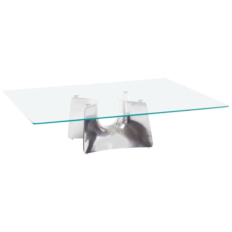 Baleri Italia Bentz Low Square Aluminium Coffee Table by Jeff Miller For Sale