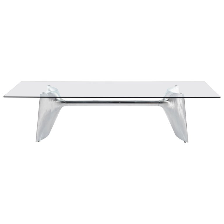 Baleri Italia Fratino High Rectangular Aluminum Table with Glass by Jeff Miller For Sale
