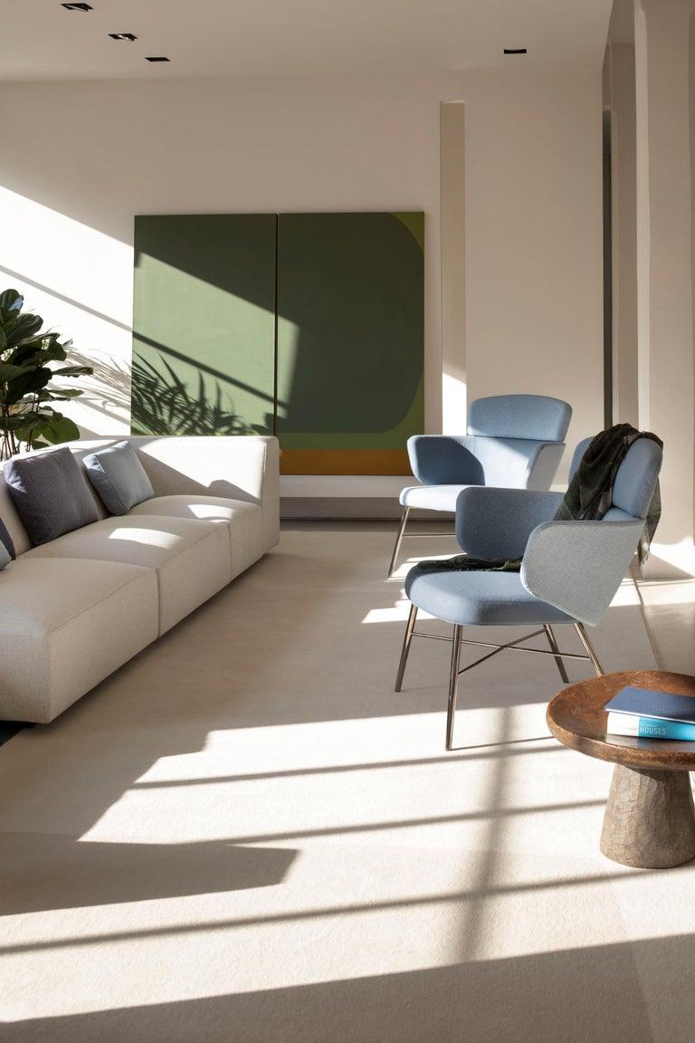 Modern Baleri Italia Kin Lounge Armchair in Blue Fabric by Radice Orlandini For Sale