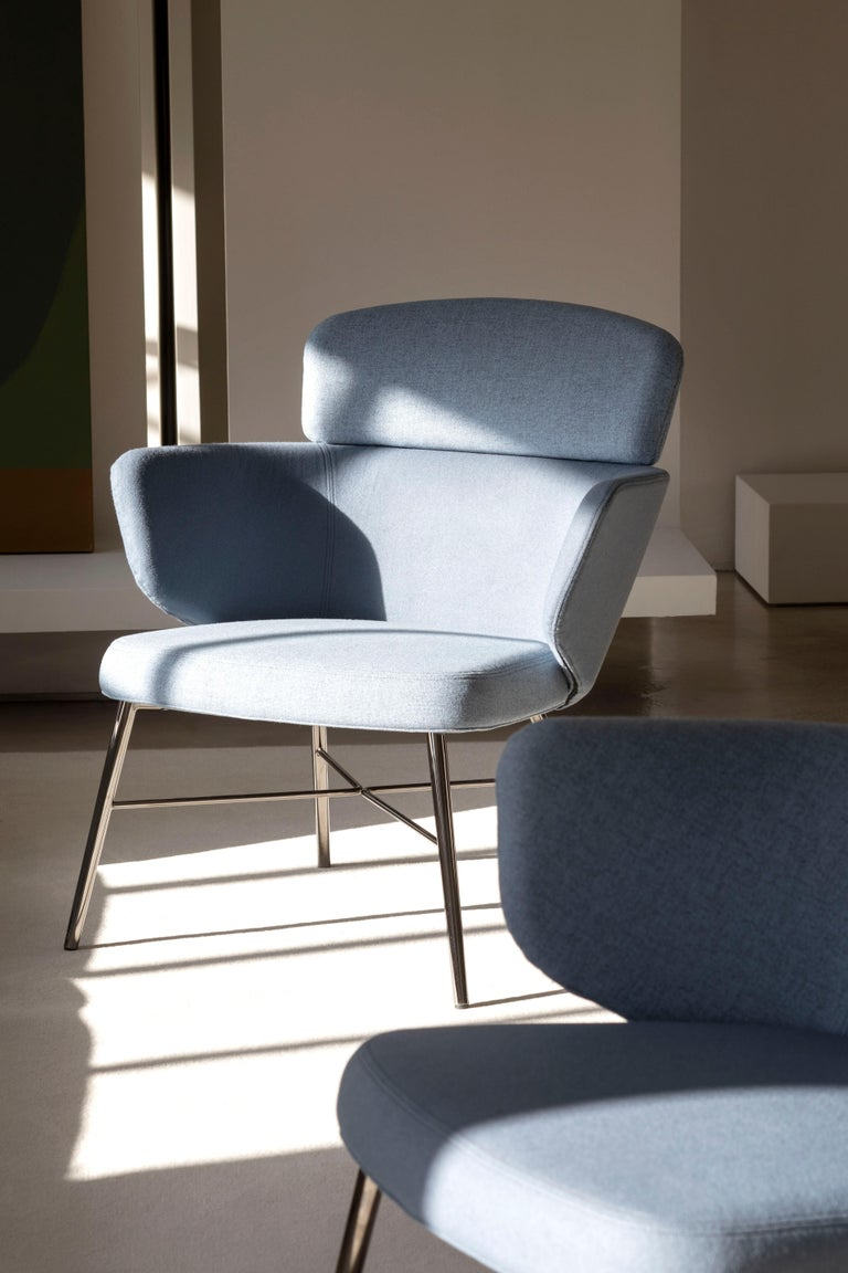 Italian Baleri Italia Kin Lounge Armchair in Blue Fabric by Radice Orlandini For Sale