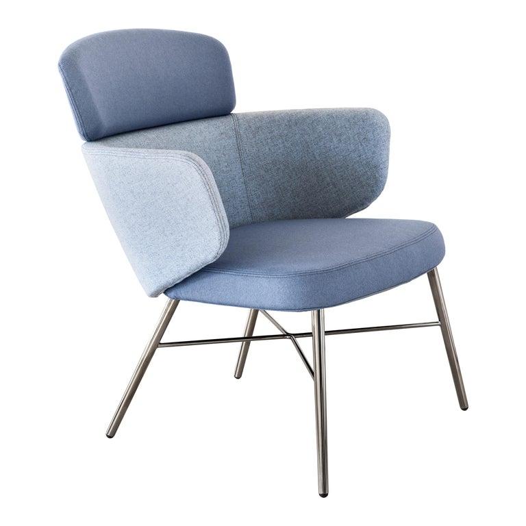 Baleri Italia Kin Lounge Armchair in Blue Fabric by Radice Orlandini For Sale
