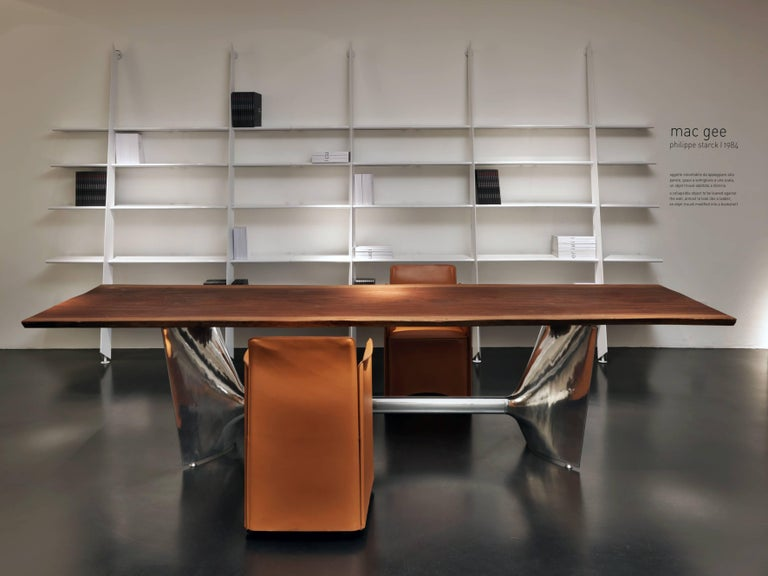 Baleri Italia Mac Gee Bookshelf in Metallic Silver Steel by Philippe Starck In New Condition For Sale In Telgate, IT