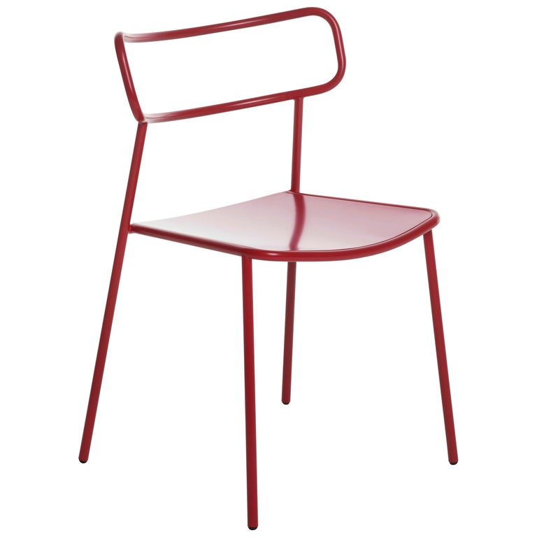 Baleri Italia Paloma Outdoor Chair in Red Steel by Radice Orlandini Designstudio For Sale