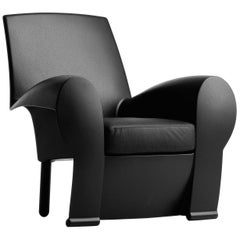 Baleri Italia Richard III Armchair in Black Leather by Philippe Starck