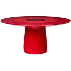 Baleri Italia Roundel Table with Red Lacquer & Glass Top, Claesson Koivisto Rune
