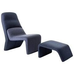 Baleri Italia Tape Chaise Lounge in Blue Fabric, Radice Orlandini Design Studio