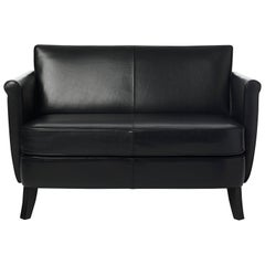 Baleri Italia Undersized Loveseat in Black Leather by Maison Margiela