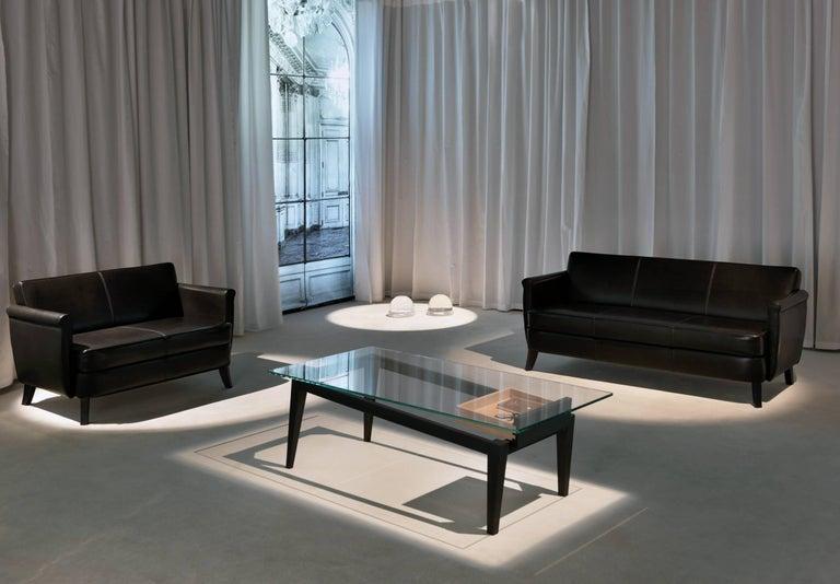 Modern Baleri Italia Undersized Three-Seat Sofa in Black Leather by Maison Margiela For Sale