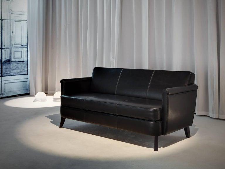 Italian Baleri Italia Undersized Three-Seat Sofa in Black Leather by Maison Margiela For Sale