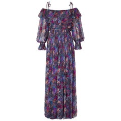 Balestra 1970s Couture Silk Chiffon Floral Boho Dress With Shoulder Ties