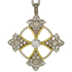 Balestra Diamond White and Yellow Gold Patonce Cross Pendant Necklace