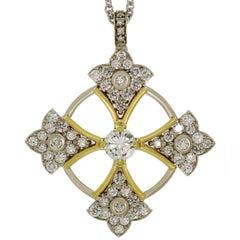 Balestra Diamond White and Yellow Gold Patonce Cross Pendant Necklace