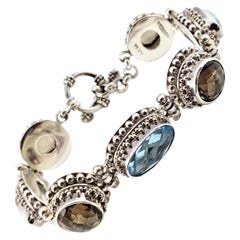 Bali Indonesia Sterling Silver Blue and Brown Topaz Flexible Toggle Bracelet