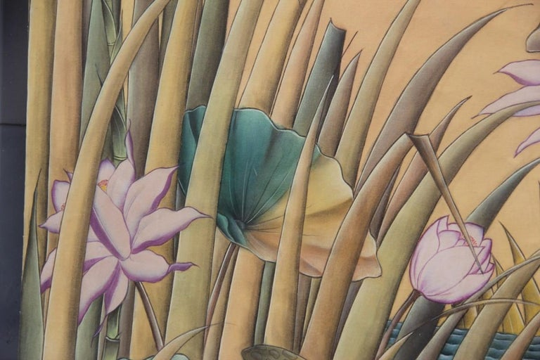 Bali Oil on Fabric Painted with Calla Lily Flowers Water Lilies Very Happy Stork For Sale 4