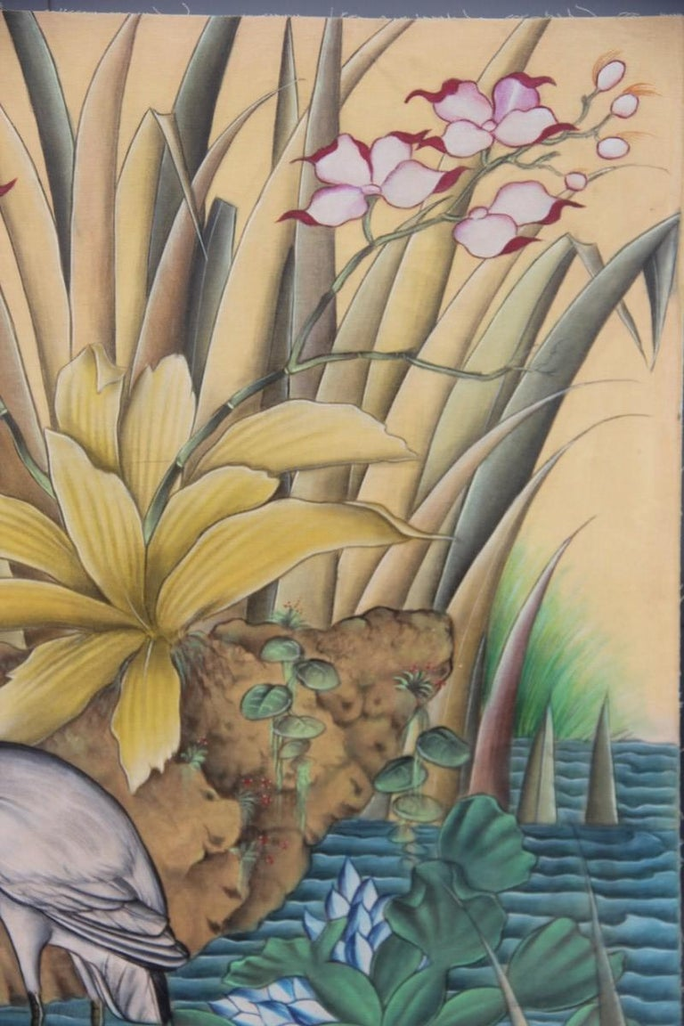 Bali Oil on Fabric Painted with Calla Lily Flowers Water Lilies Very Happy Stork For Sale 7