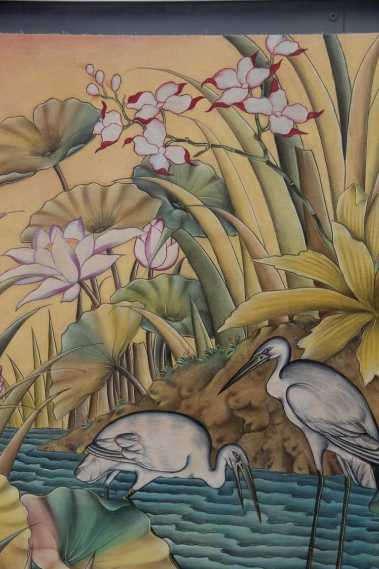 Bali Oil on Fabric Painted with Calla Lily Flowers Water Lilies Very Happy Stork For Sale 8