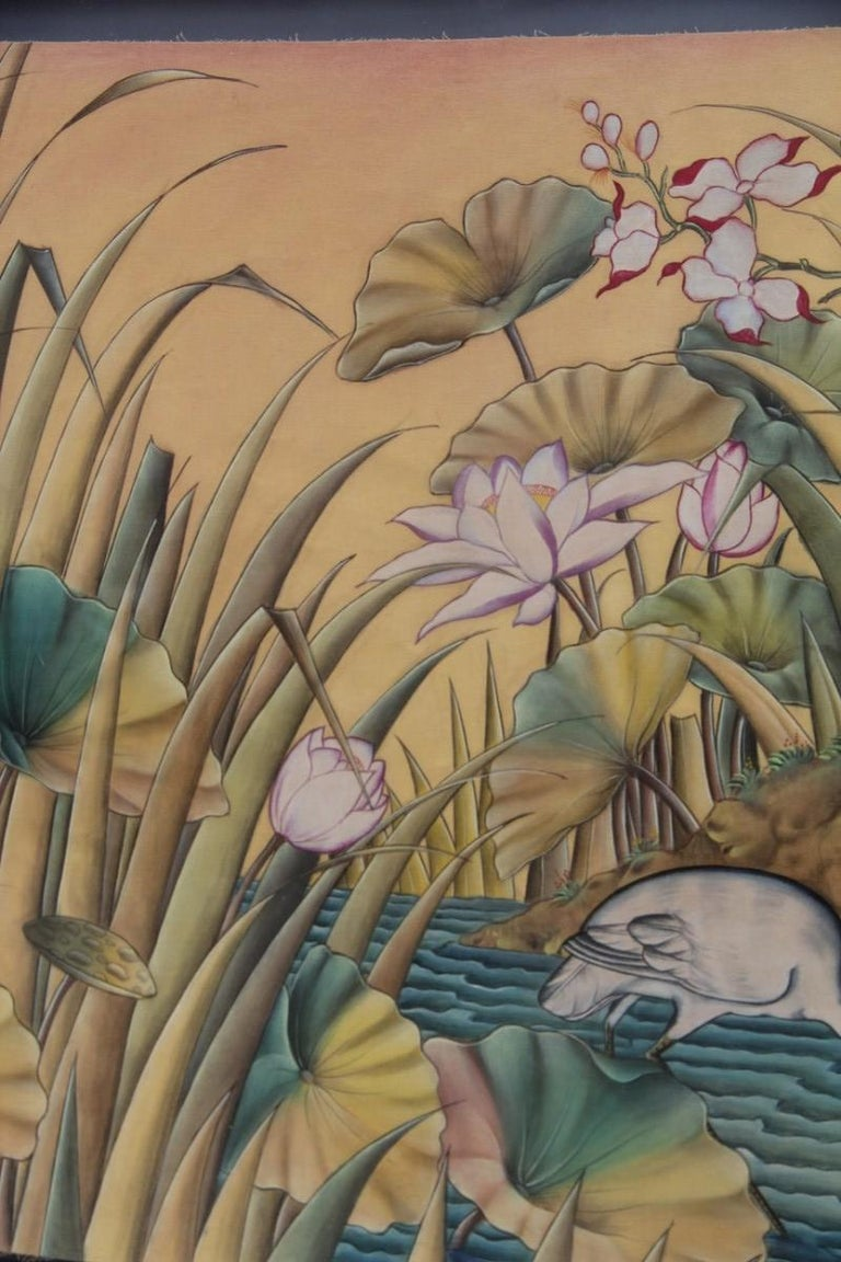 Bali Oil on Fabric Painted with Calla Lily Flowers Water Lilies Very Happy Stork For Sale 9