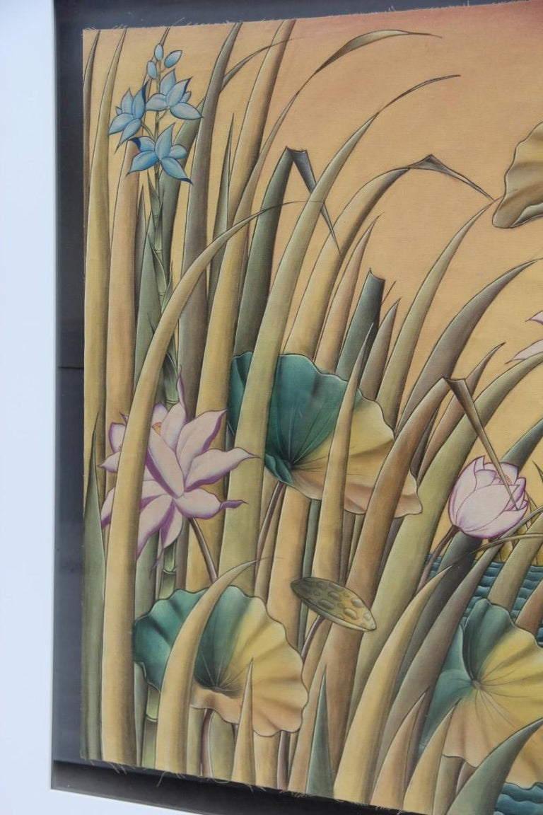 Bali Oil on Fabric Painted with Calla Lily Flowers Water Lilies Very Happy Stork For Sale 10