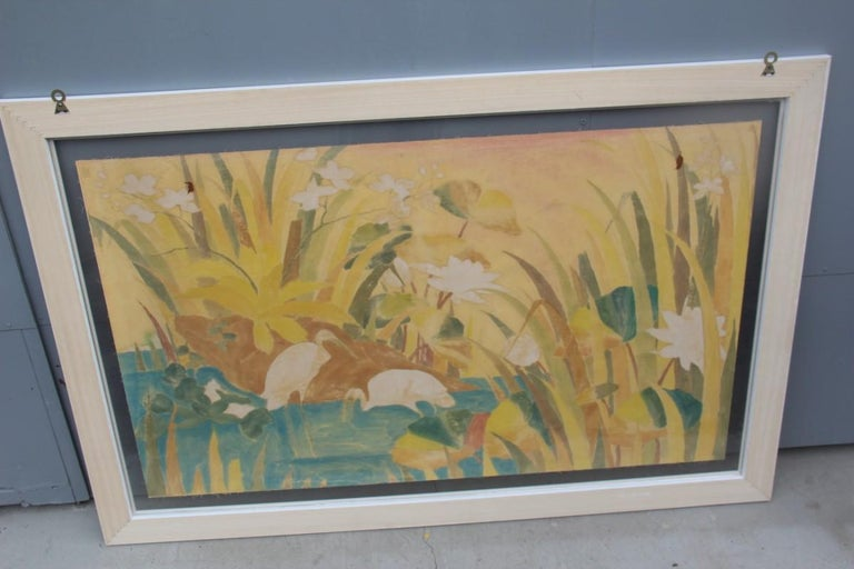 Bali Oil on Fabric Painted with Calla Lily Flowers Water Lilies Very Happy Stork For Sale 11