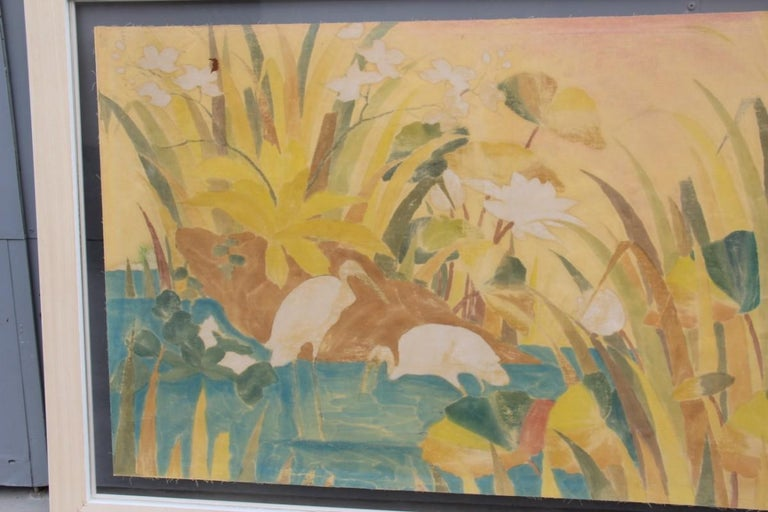 Bali Oil on Fabric Painted with Calla Lily Flowers Water Lilies Very Happy Stork For Sale 12