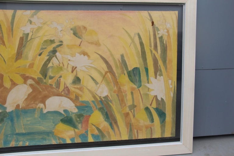 Bali Oil on Fabric Painted with Calla Lily Flowers Water Lilies Very Happy Stork For Sale 13