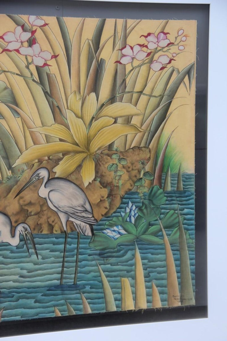 Bali oil on fabric painted with calla lily flowers water lilies very happy storks.