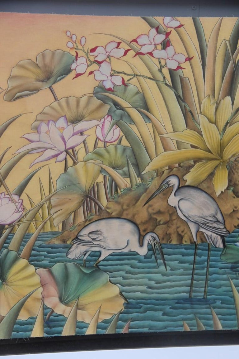 Mid-Century Modern Bali Oil on Fabric Painted with Calla Lily Flowers Water Lilies Very Happy Stork For Sale