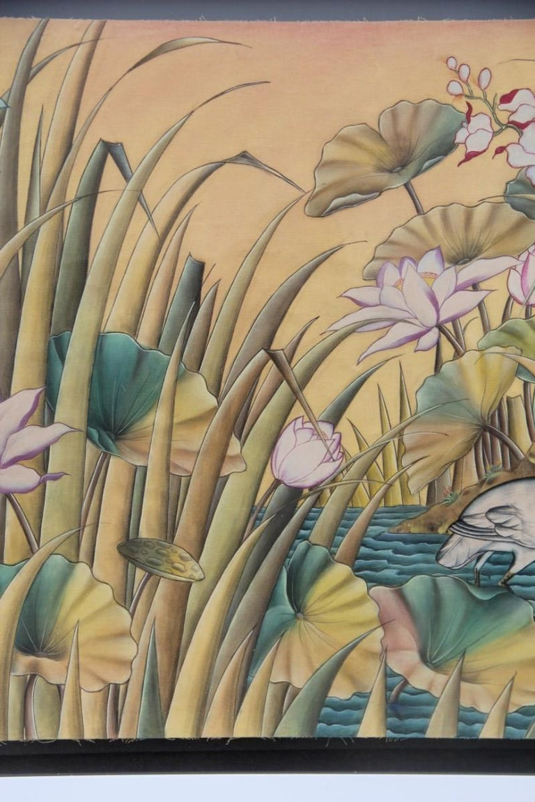 Balinese Bali Oil on Fabric Painted with Calla Lily Flowers Water Lilies Very Happy Stork For Sale