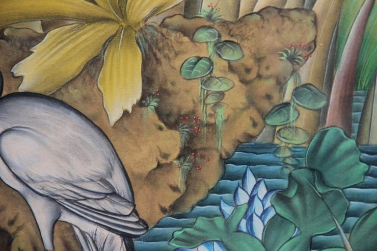 Bali Oil on Fabric Painted with Calla Lily Flowers Water Lilies Very Happy Stork For Sale 1