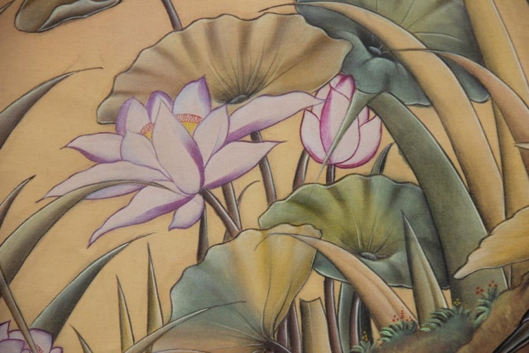 Bali Oil on Fabric Painted with Calla Lily Flowers Water Lilies Very Happy Stork For Sale 3
