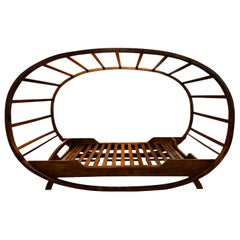 Bali Style Solid Teak Platform Bed with Ovoid Canopy