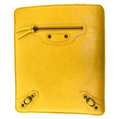 Balenciaga Motocross Classic iPad Tablet Yellow Leather Case
