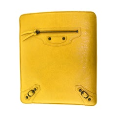 Baliencaga Yellow Leather Ipad Tablet Travel Case